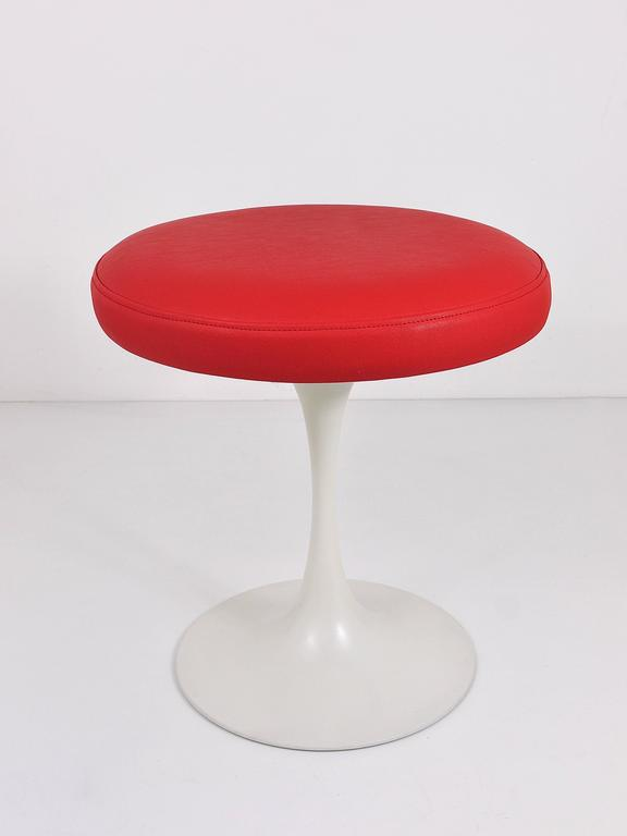 Maurice Burke Red And White Tulip Base Stool By Arkana