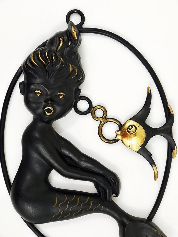 Brass Walter Bosse Mermaid and Fish Wall Sculpture by Hertha Baller, Austria, 1950s For Sale