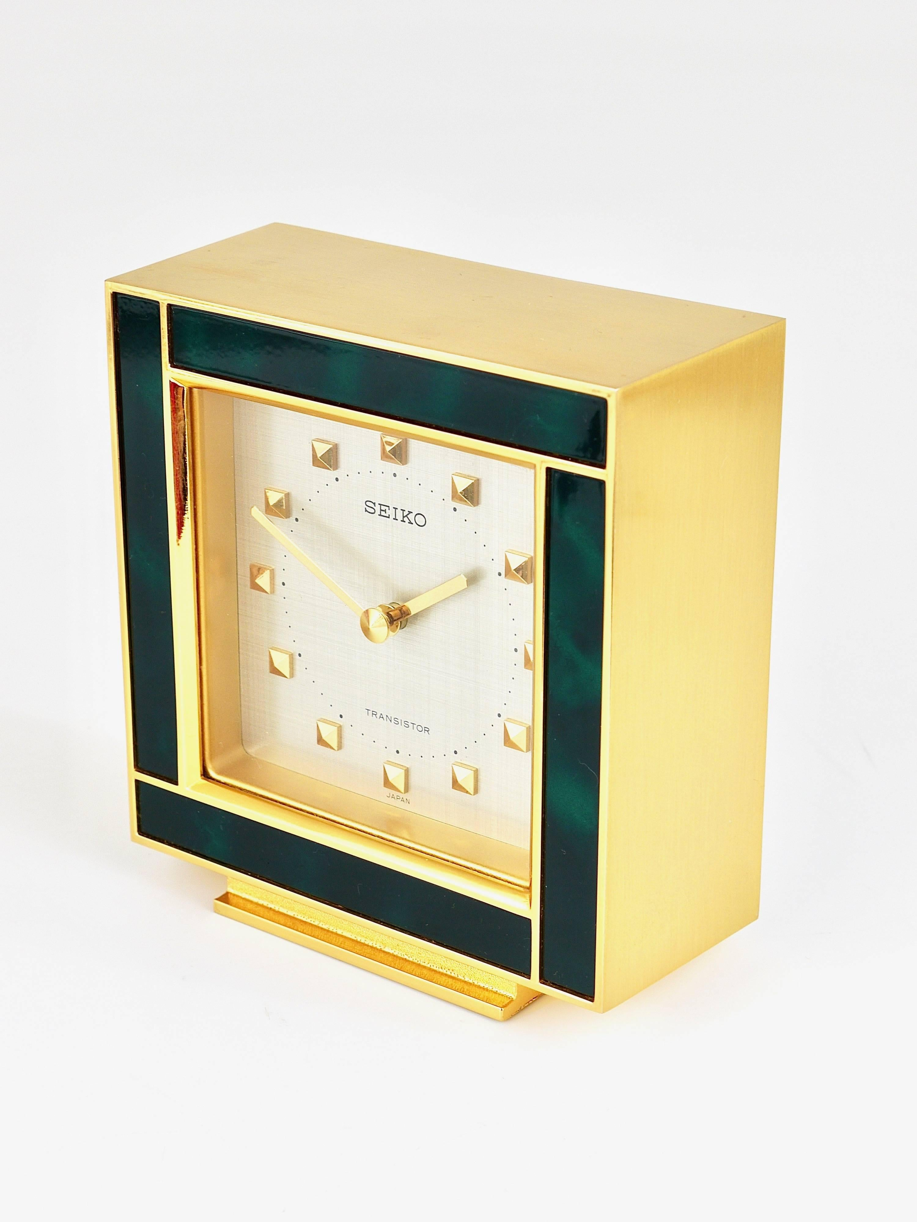 Beautiful Gold And Green Hollywood Regency Table Clock Seiko 1970s For At 1stdibs