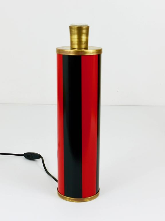 Enameled Red and Black Piero Fornasetti Mid-Century Table Lamp, Italy, 1950s For Sale