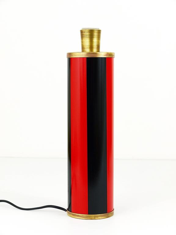Red and Black Piero Fornasetti Mid-Century Table Lamp, Italy, 1950s In Excellent Condition For Sale In Vienna, AT