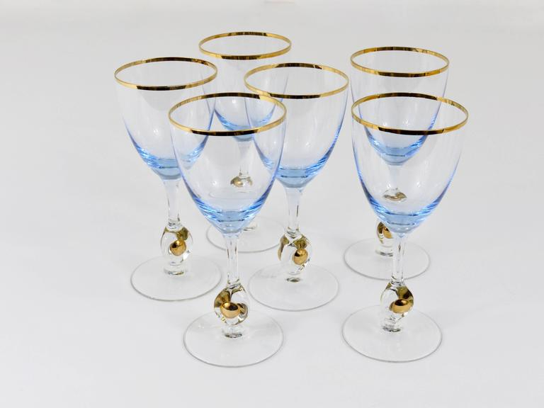 Mid-Century Modern Six Beautiful Light Blue and Gold Wine or Water Glasses, Bohemia, 1960s For Sale
