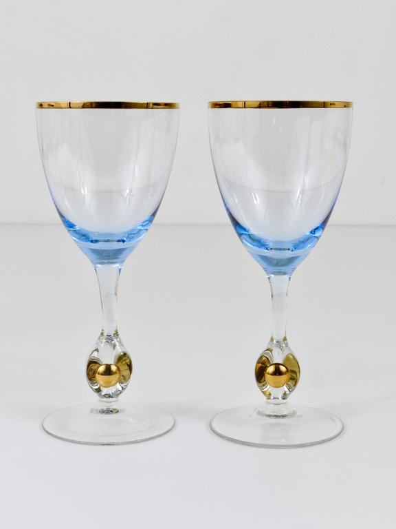 Czech Six Beautiful Light Blue and Gold Wine or Water Glasses, Bohemia, 1960s For Sale