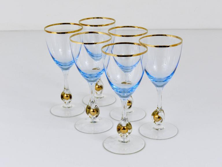 Six Beautiful Light Blue and Gold Wine or Water Glasses, Bohemia, 1960s For Sale 1