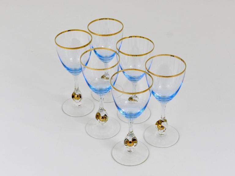 Blown Glass Six Beautiful Light Blue and Gold Wine or Water Glasses, Bohemia, 1960s For Sale