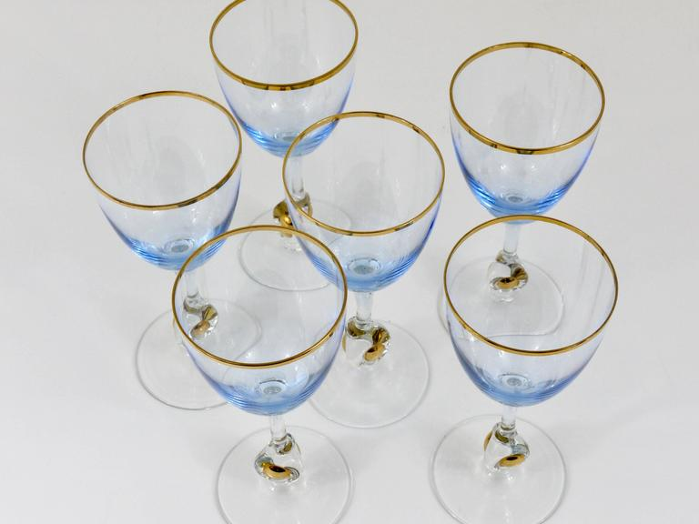 Six Beautiful Light Blue and Gold Wine or Water Glasses, Bohemia, 1960s For Sale 2