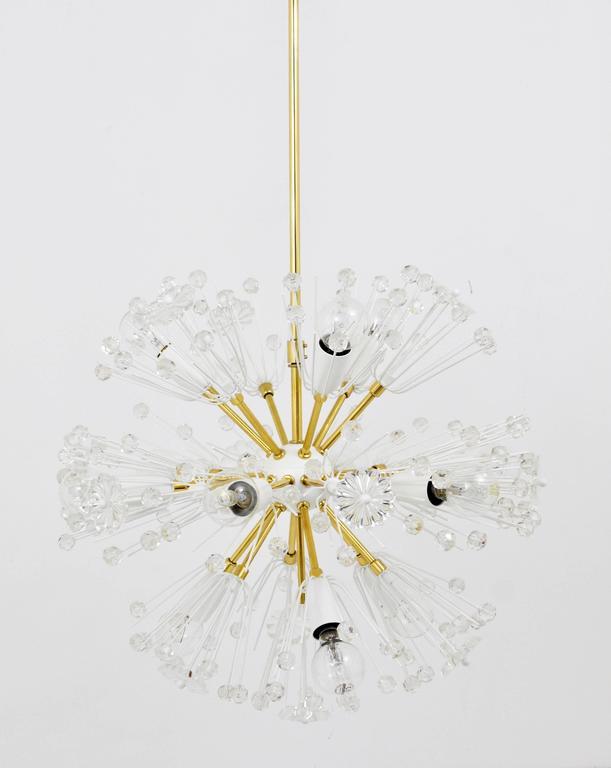 Austrian Emil Stejnar Blowball Sputnik Brass Chandelier by Rupert Nikoll, Austria, 1950s For Sale