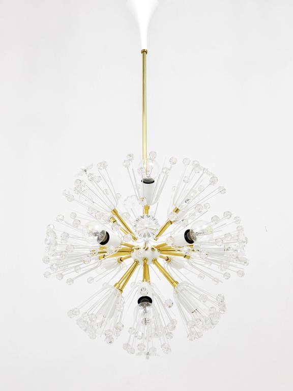Emil Stejnar Blowball Sputnik Brass Chandelier by Rupert Nikoll, Austria, 1950s For Sale 4