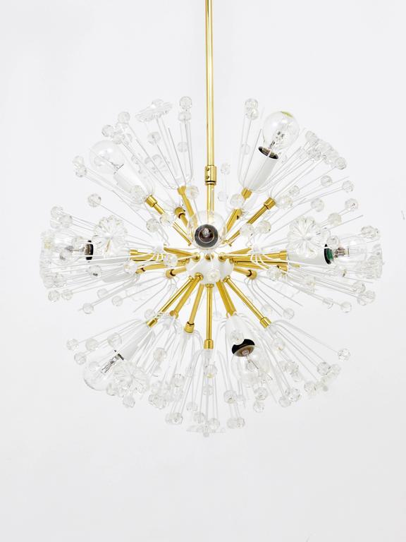 20th Century Emil Stejnar Blowball Sputnik Brass Chandelier by Rupert Nikoll, Austria, 1950s For Sale
