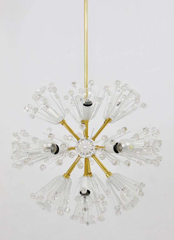 Emil Stejnar Blowball Sputnik Brass Chandelier by Rupert Nikoll, Austria, 1950s In Excellent Condition For Sale In Vienna, AT