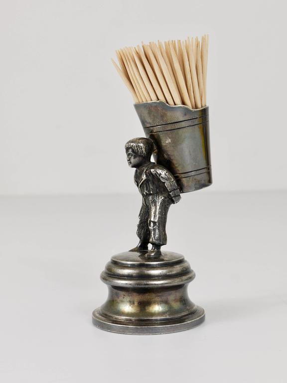 German 1920s Silver Art Nouveau Toothpick Holder Displaying a Boy at Grape Harvest For Sale