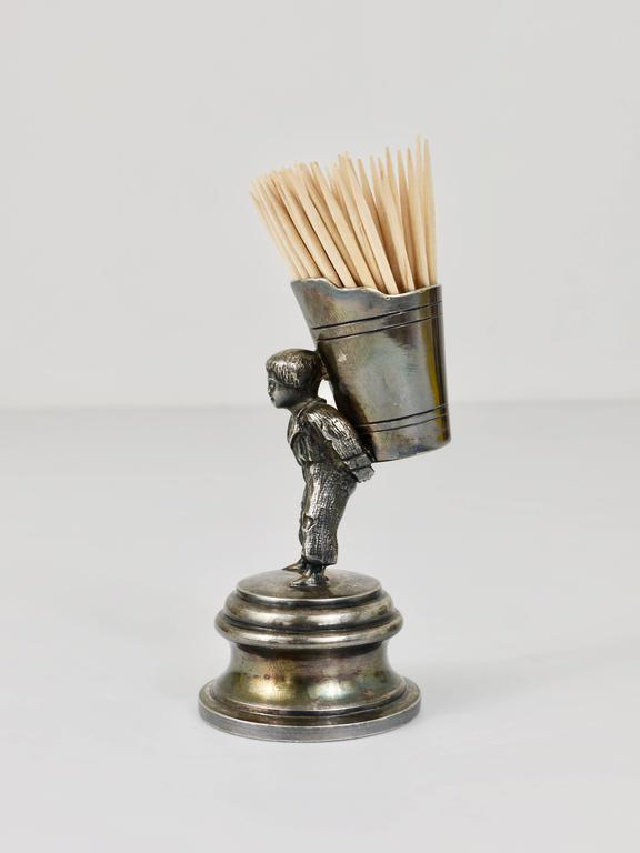 Silvered 1920s Silver Art Nouveau Toothpick Holder Displaying a Boy at Grape Harvest For Sale