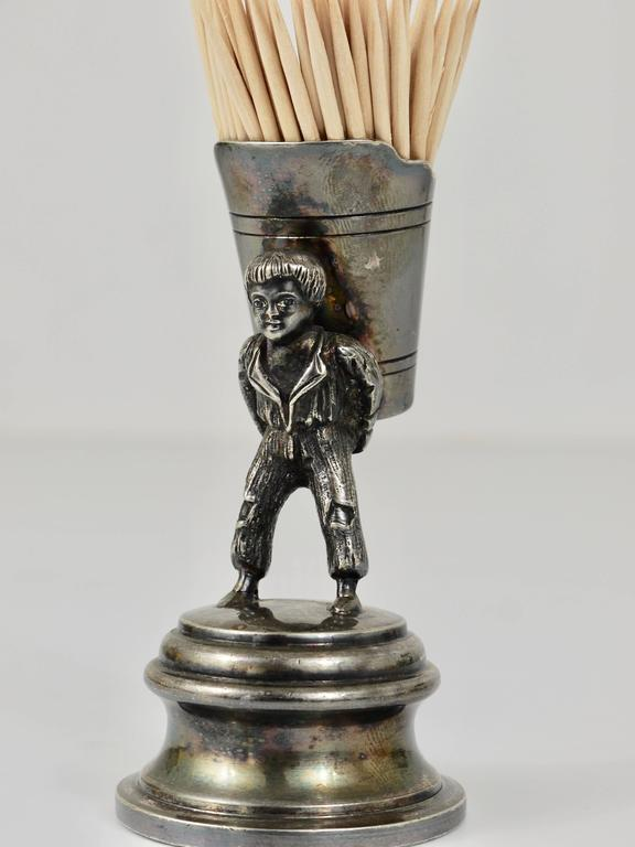 Early 20th Century 1920s Silver Art Nouveau Toothpick Holder Displaying a Boy at Grape Harvest For Sale