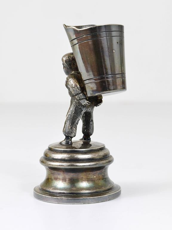 Metal 1920s Silver Art Nouveau Toothpick Holder Displaying a Boy at Grape Harvest For Sale