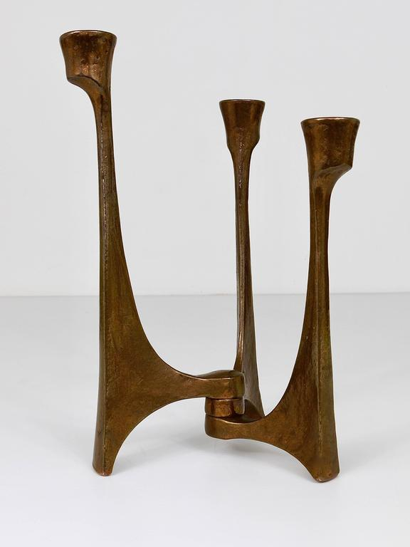 Mid Century Brutalist Bronze Candleholder By Michael Harjes Germany 1960s