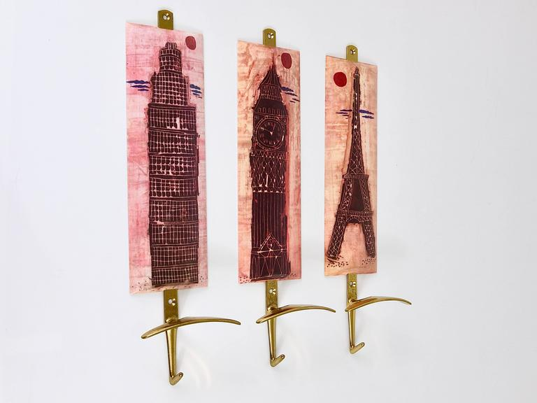 Set of Three Mid-Century Brass Coat Wall Hooks, Fornasetti Style, Italy, 1960s For Sale 2