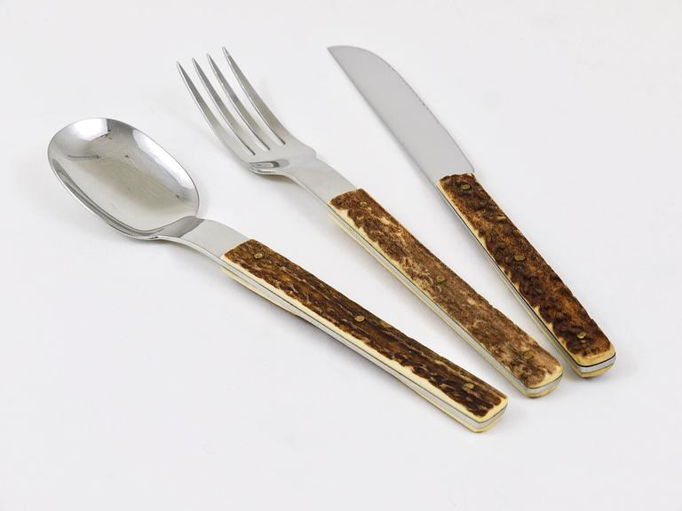 Amboss Austria Mid-Century Flatware Cutlery with Antler Handles for Six Persons 4
