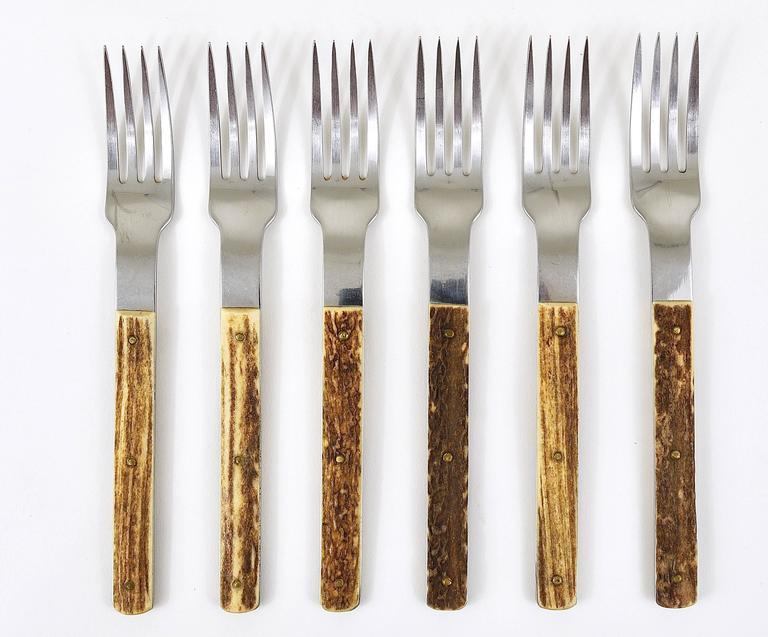 Amboss Austria Mid-Century Flatware Cutlery with Antler Handles for Six Persons 9