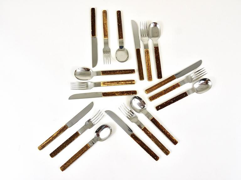 Amboss Austria Mid-Century Flatware Cutlery with Antler Handles for Six Persons 10