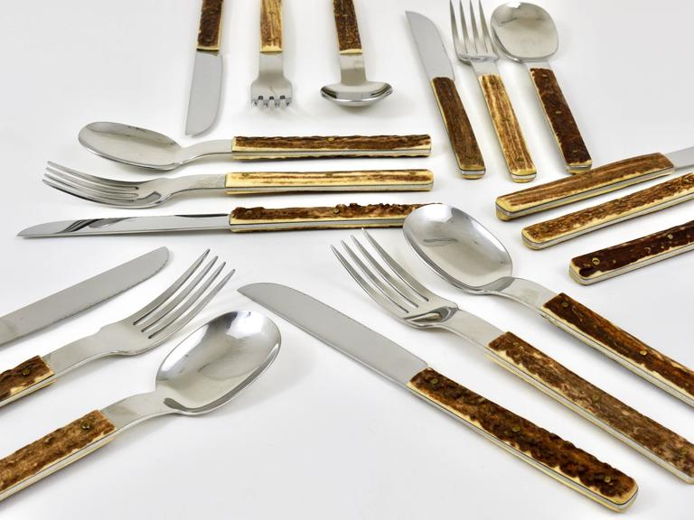 Amboss Austria Mid-Century Flatware Cutlery with Antler Handles for Six Persons 6