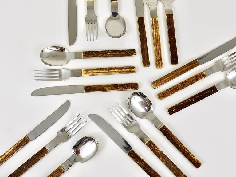 Amboss Austria Mid-Century Flatware Cutlery with Antler Handles for Six Persons 2