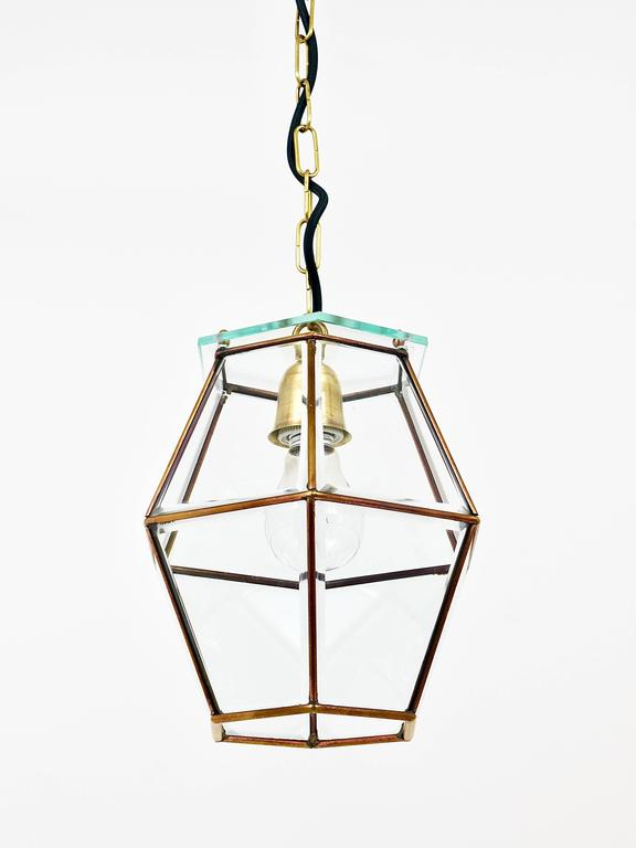 Austrian Art Nouveau Pendant Lamp Lantern in the Manner of Adolf Loos, Knize, 1900s For Sale