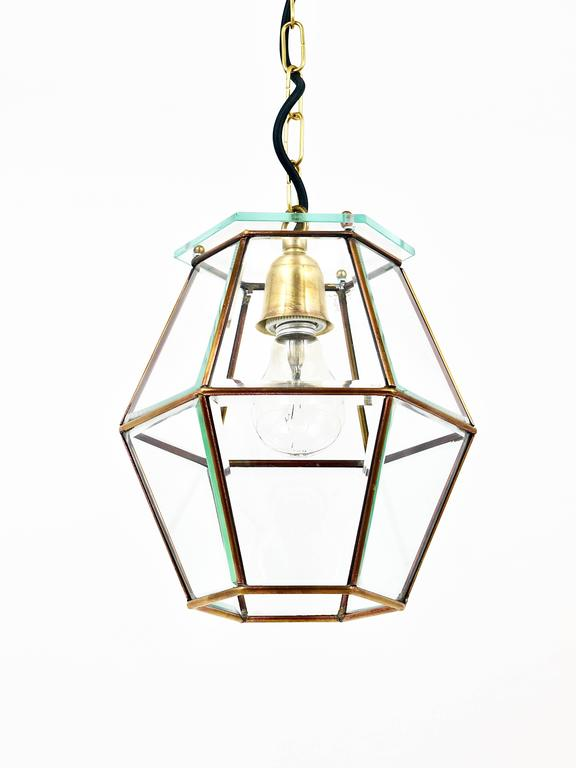 Faceted Art Nouveau Pendant Lamp Lantern in the Manner of Adolf Loos, Knize, 1900s For Sale