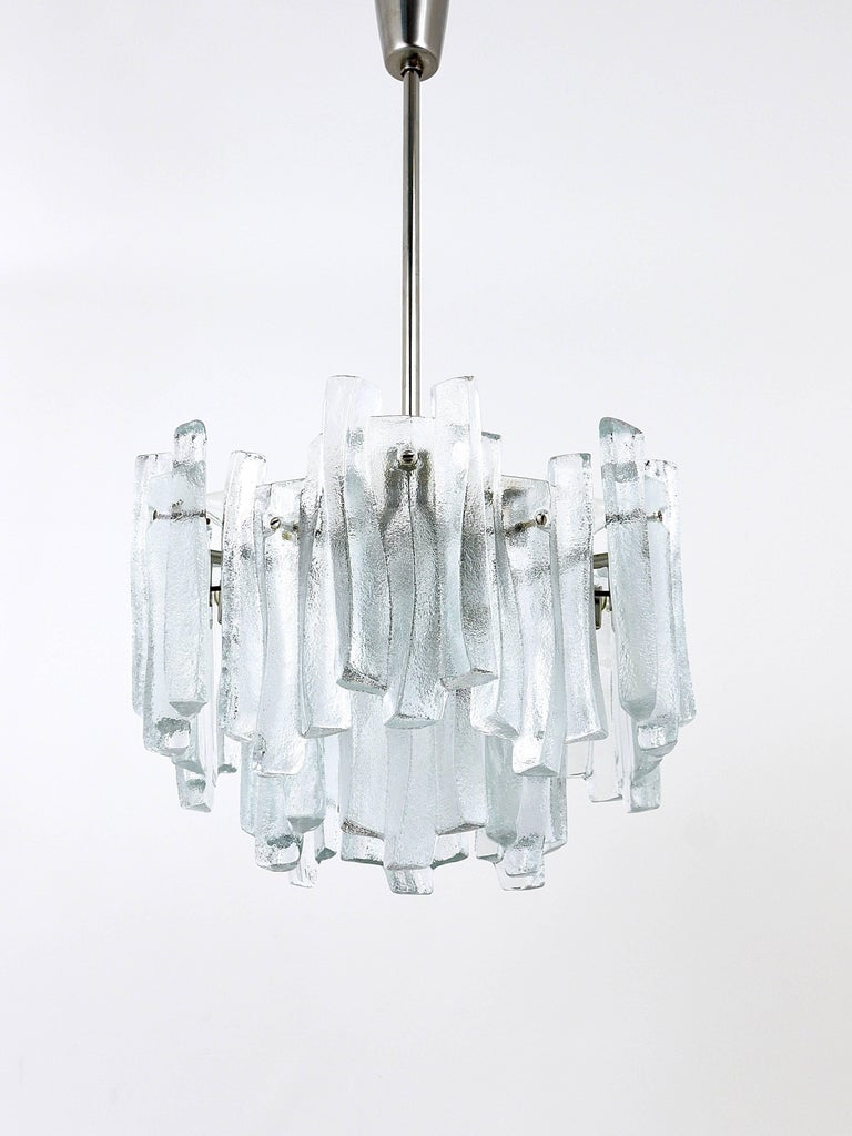 Lovely mid century ice glass icicle chandelier by kalmar austria mid century modern lovely mid century ice glass icicle chandelier by kalmar austria aloadofball Image collections