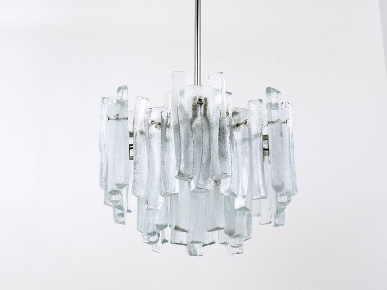 Lovely mid century ice glass icicle chandelier by kalmar austria 20th century lovely mid century ice glass icicle chandelier by kalmar austria 1960s aloadofball Gallery