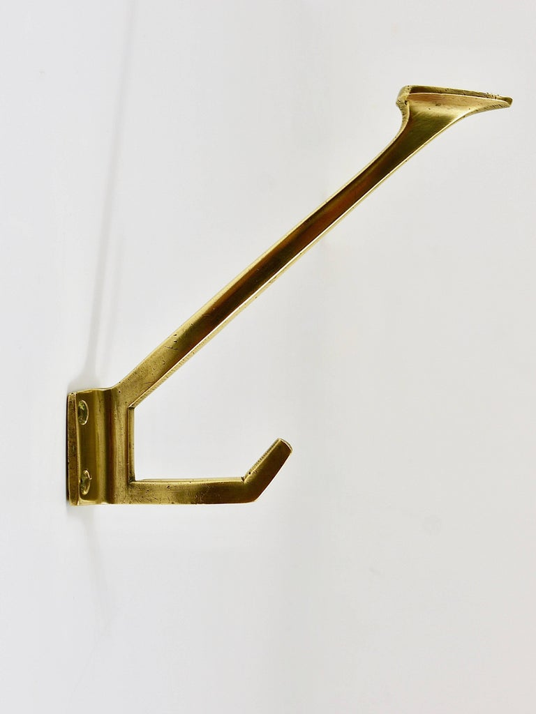 Austrian Up to Four Handcrafted Art Nouveau Brass Wall Hooks, Austria, circa 1910 For Sale