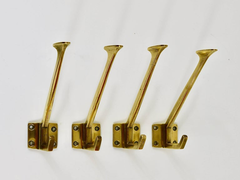 Up to Four Handcrafted Art Nouveau Brass Wall Hooks, Austria, circa 1910 For Sale 1