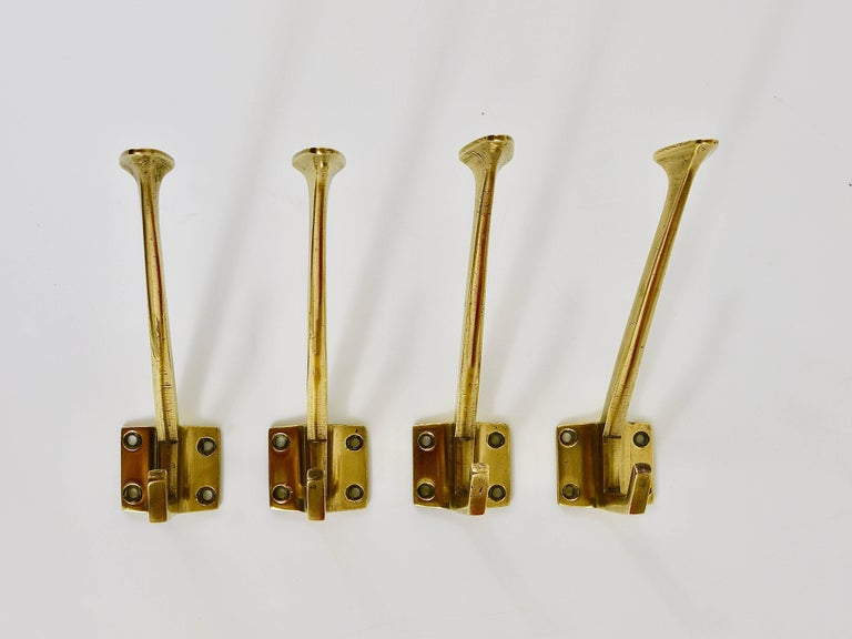 Up to Four Handcrafted Art Nouveau Brass Wall Hooks, Austria, circa 1910 For Sale 2