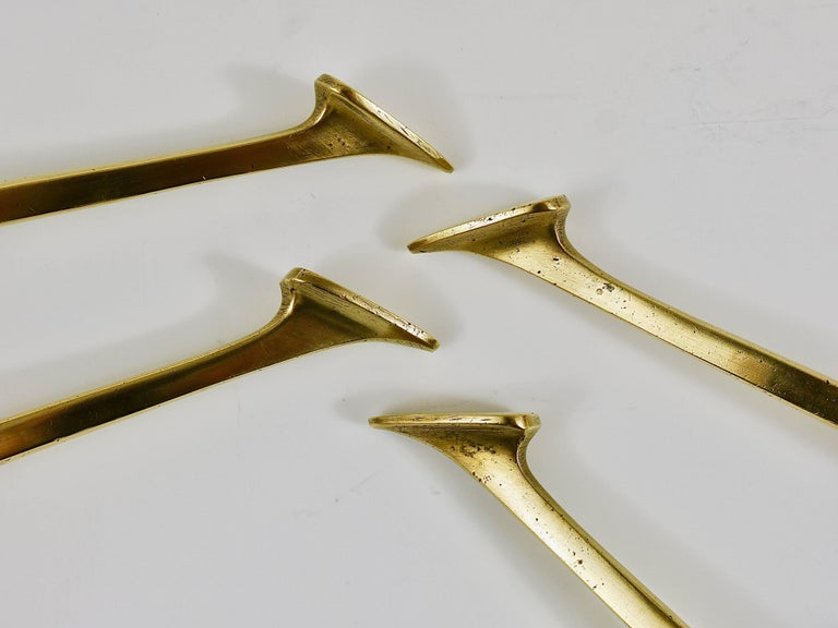 Up to Four Handcrafted Art Nouveau Brass Wall Hooks, Austria, circa 1910 For Sale 4