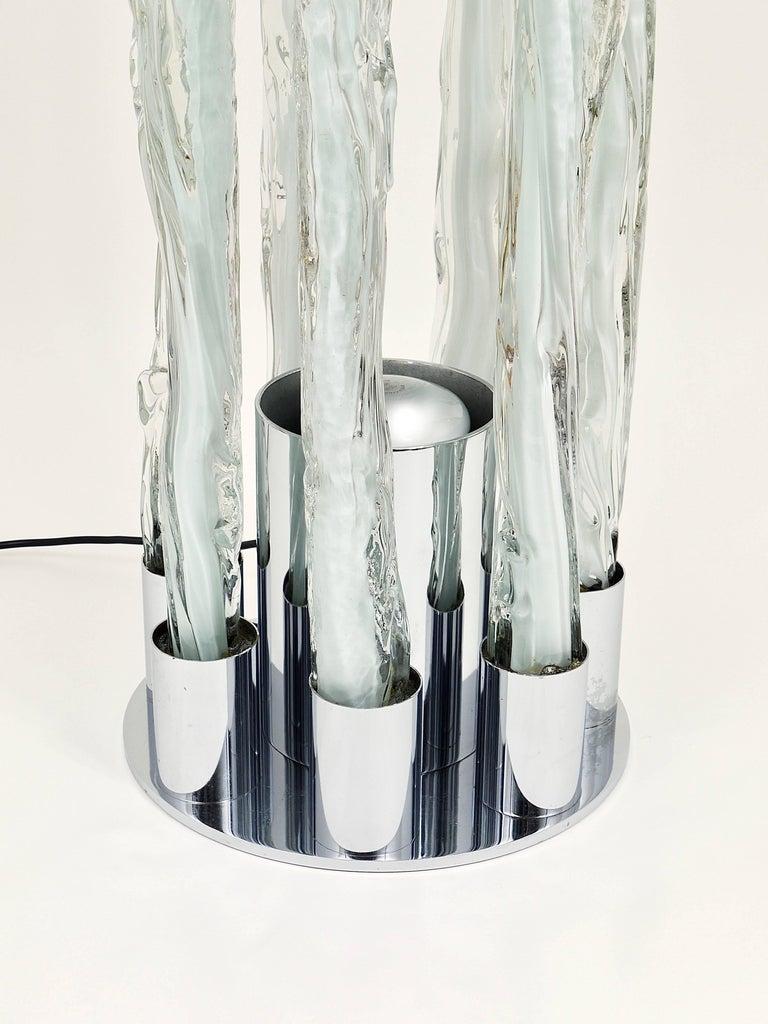 Skulpturale Carlo Nason Mazzega Murano Midcentury Glas Stehleuchte, Italy, 1960s 5
