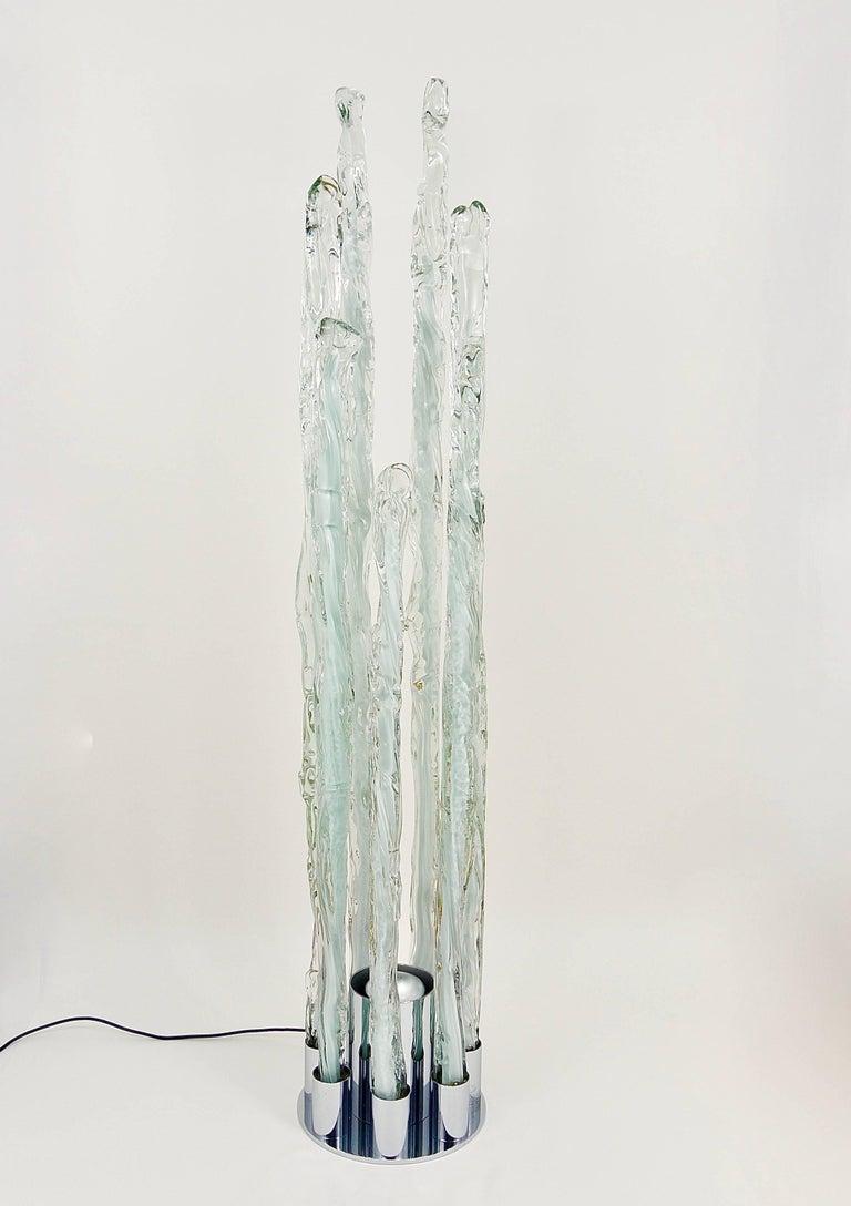 Skulpturale Carlo Nason Mazzega Murano Midcentury Glas Stehleuchte, Italy, 1960s 6