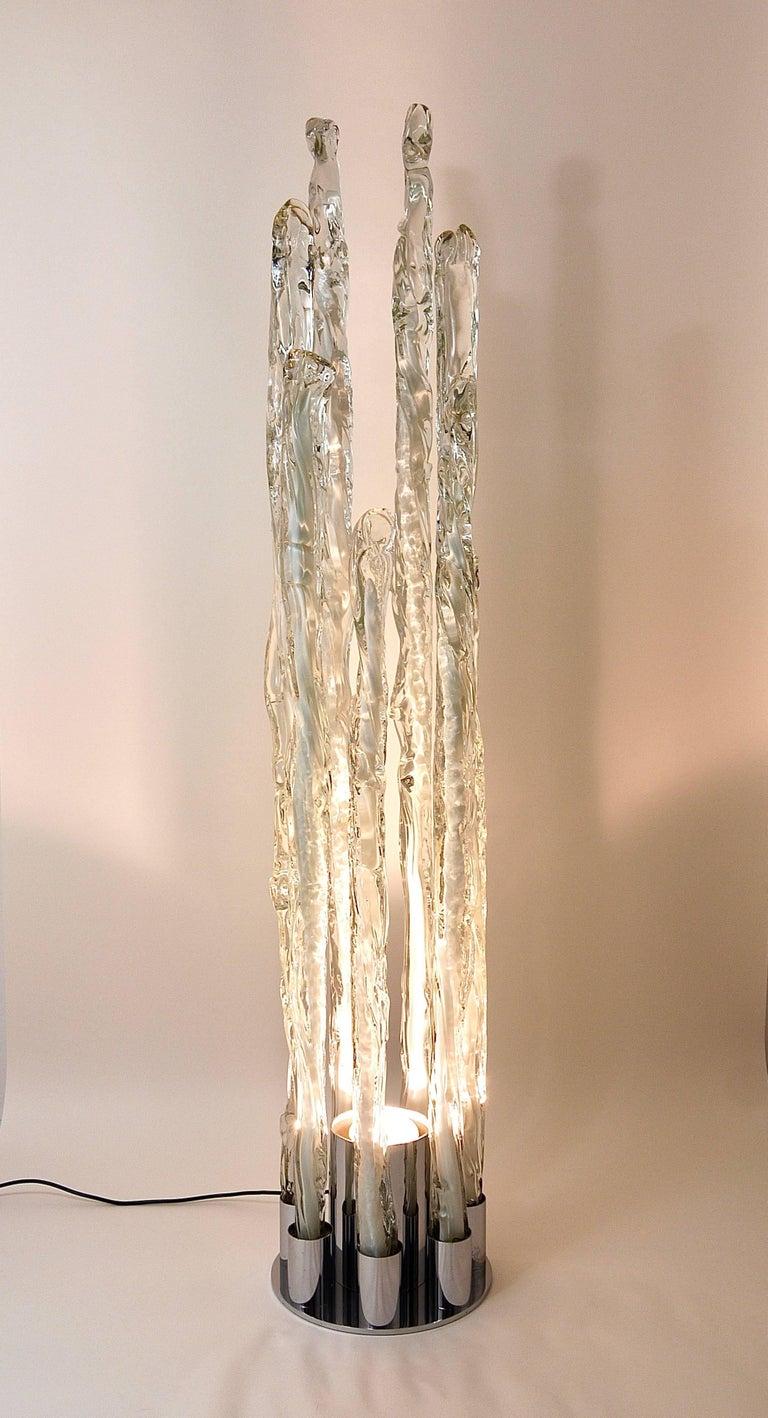 Skulpturale Carlo Nason Mazzega Murano Midcentury Glas Stehleuchte, Italy, 1960s 2