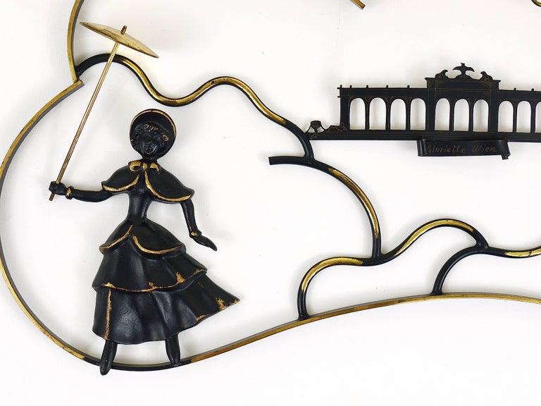 Walter Bosse Woman in Biedermeier Dress Mural Brass Sculpture, Austria, 1950s For Sale 3