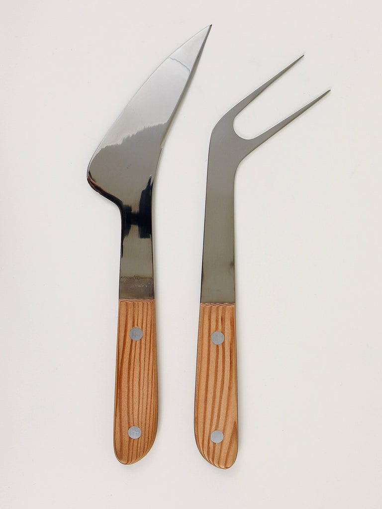 20th Century Boxed Midcentury Carving Knife and Fork by Amboss Austria, Steel, Wood, 1960s For Sale