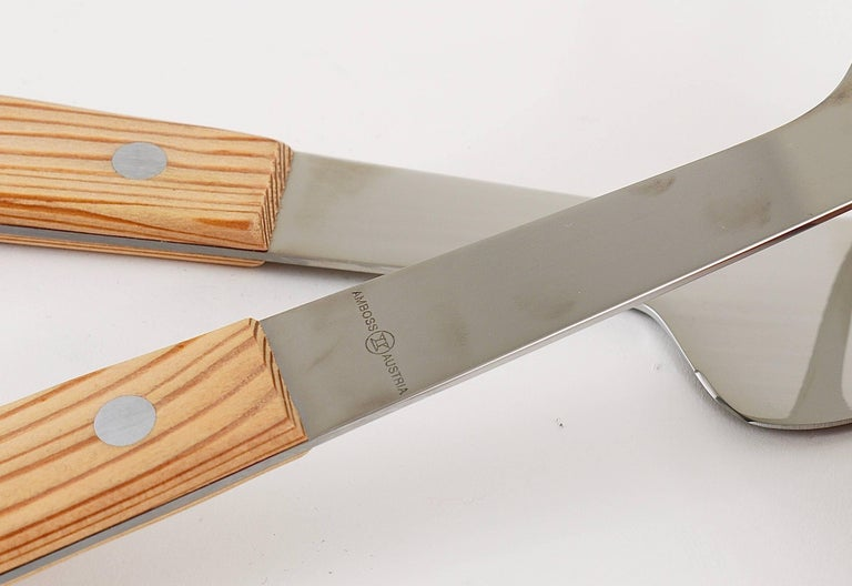 Mid-Century Modern Boxed Midcentury Carving Knife and Fork by Amboss Austria, Steel, Wood, 1960s For Sale