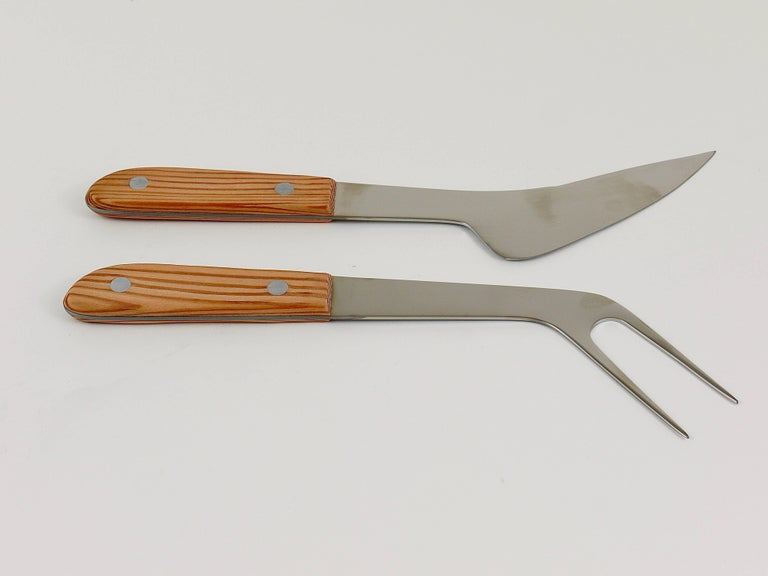 Stainless Steel Boxed Midcentury Carving Knife and Fork by Amboss Austria, Steel, Wood, 1960s For Sale