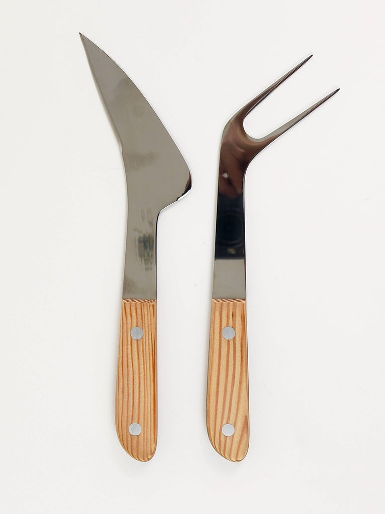 Boxed Midcentury Carving Knife and Fork by Amboss Austria, Steel, Wood, 1960s For Sale 1