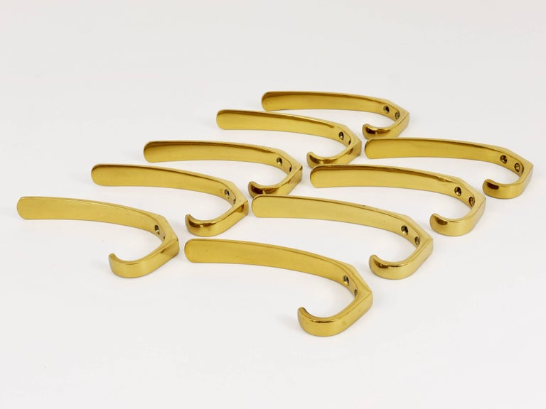 Austrian Up to Six Midcentury Brass Wall Coat Hooks by Hertha Baller, Austria, 1950s For Sale