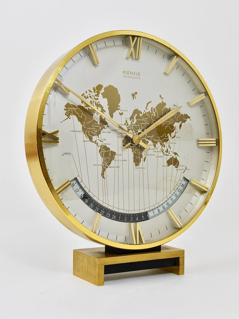 Large Midcentury Kienzle Gmt World Time Zone Brass Table