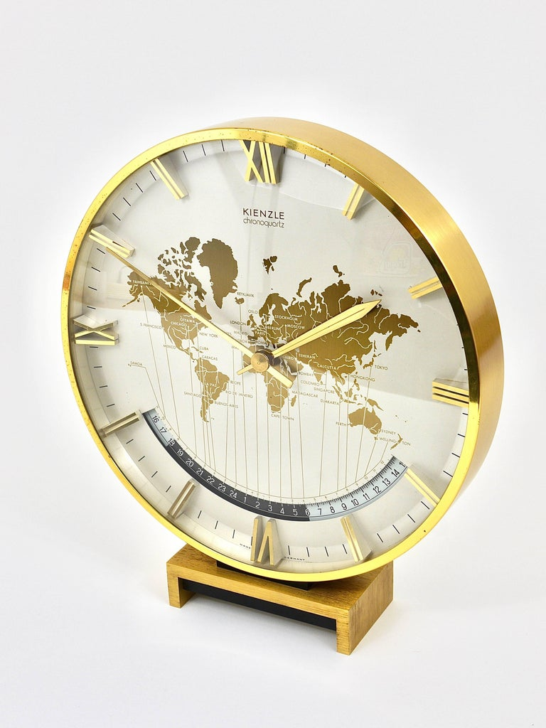 Large Midcentury Kienzle Gmt World Time Zone Brass Table