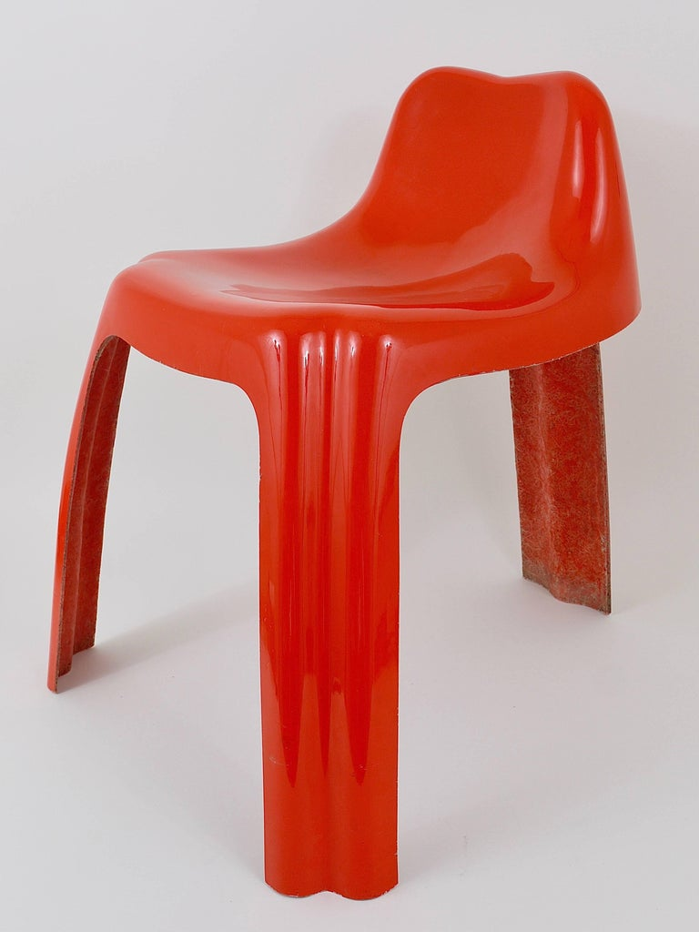 Orange Fiberglass Chair Ginger By Patrick Gingembre