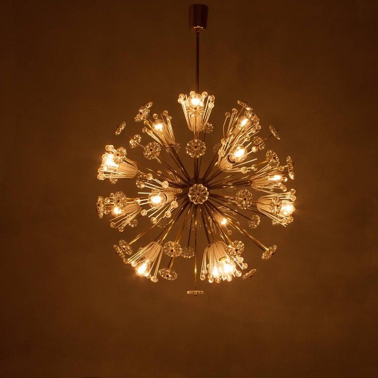 Three Identical Emil Stejnar Blowball Sputnik Brass Chandeliers by Rupert Nikoll 2