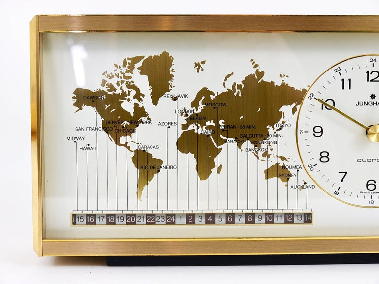 Midcentury Junghans Gmt World Time Zone Brass Table Clock Germany