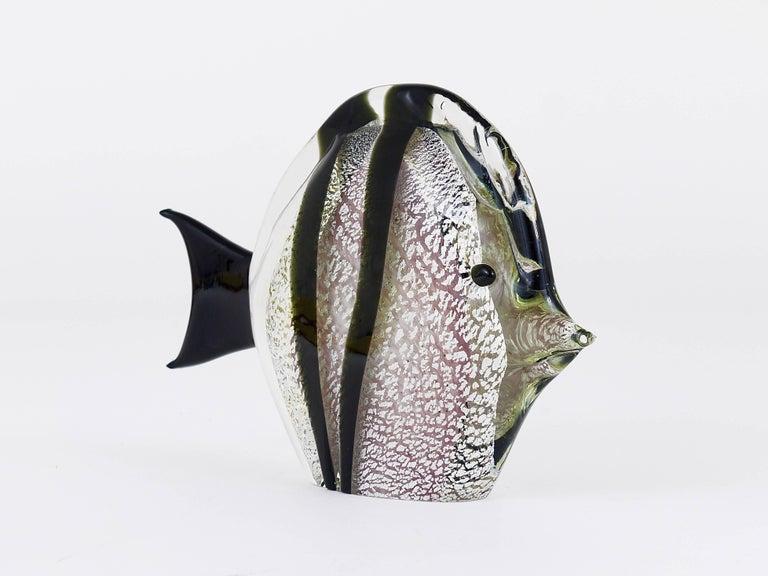 Mid-Century Modern Signed Mario Badioli Handblown Murano Glass Fish Sculpture, Italy, 1970s For Sale