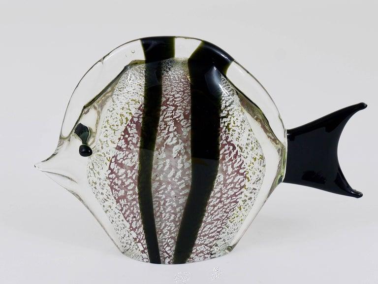 20th Century Signed Mario Badioli Handblown Murano Glass Fish Sculpture, Italy, 1970s For Sale