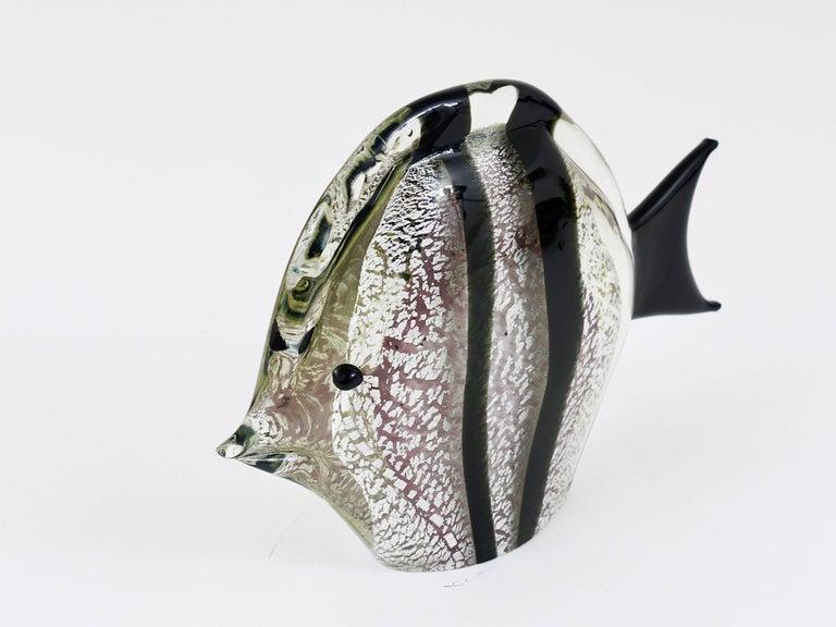 Art Glass Signed Mario Badioli Handblown Murano Glass Fish Sculpture, Italy, 1970s For Sale
